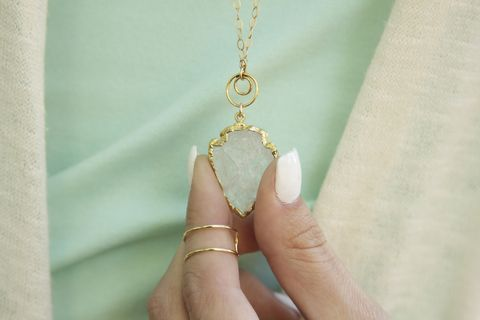 QUARTZ,ARROWHEAD,PENDANT,Necklace,,24kt,Gold,Dipped,Pendant,,Filled,Stone,Pendant,arrowhead necklace, arrowhead, quartz necklace, gold