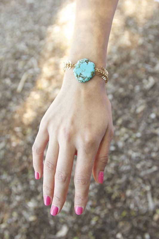 Gold chain and turquoise stone bracelet - product images  of