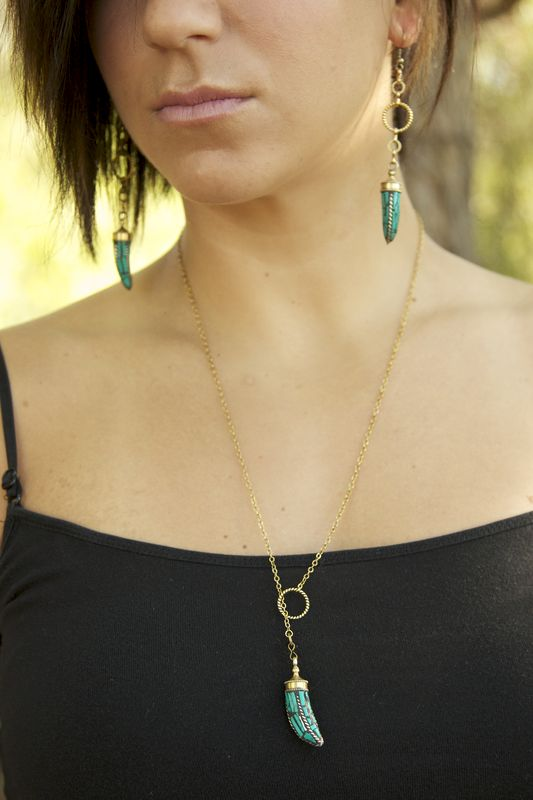 Tibetan Brass Turquoise lariat Horn Necklace - product images  of