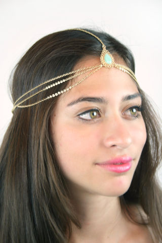 Gold,drape,head,chain,with,mint,stone