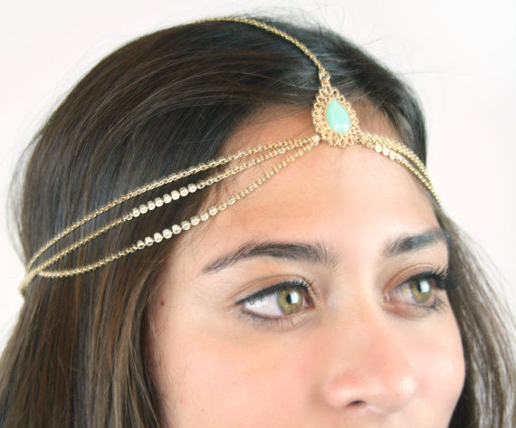Gold drape head chain with blush embellishments - product images  of