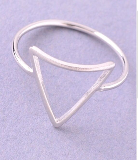 Triangle geometric ring  in gold or silver - product images  of