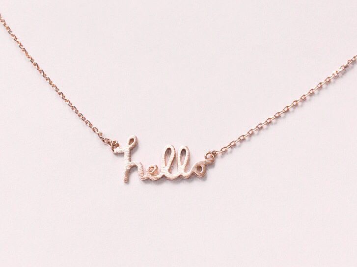 Hello Necklace - rose Gold Filled or silver Necklace, Dainty Gold - product images  of