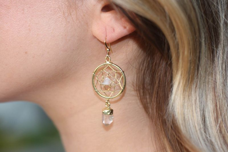 Crystal Quartz Dream Catcher earrings - product images  of