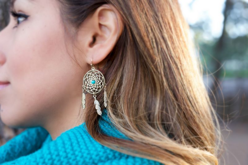 Turquoise Dream Catcher and Feather earrings - product images  of