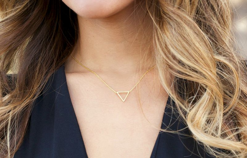 tiny geometric triangle Necklace - 14k Gold Filled Necklace, Dainty Gold - product images  of