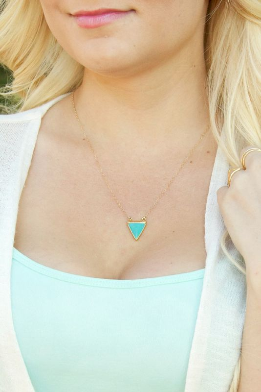 24k gold turquoise trimmed necklace arrowhead geometric indian necklace - product images  of