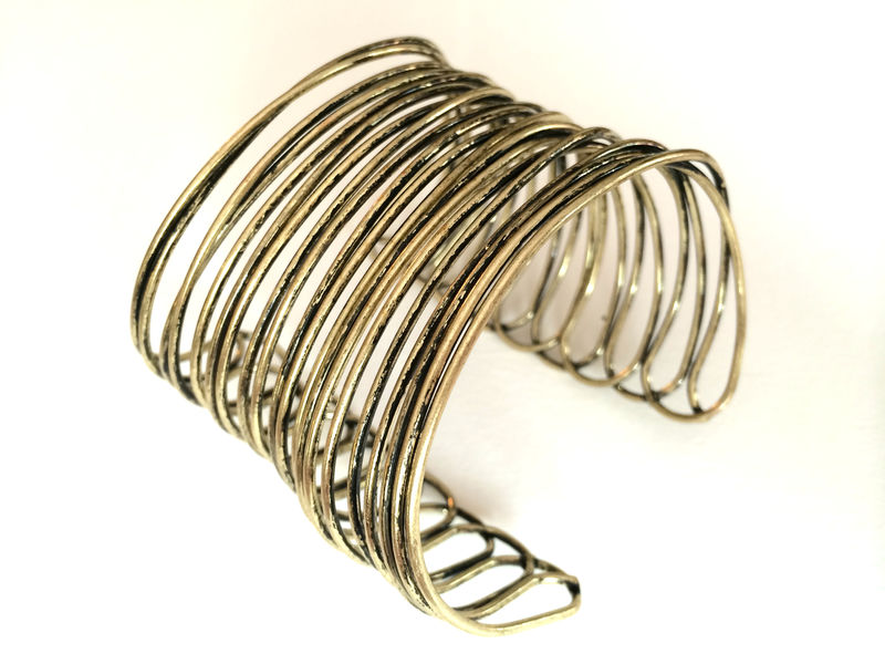 antique brass weave cuff - product images  of