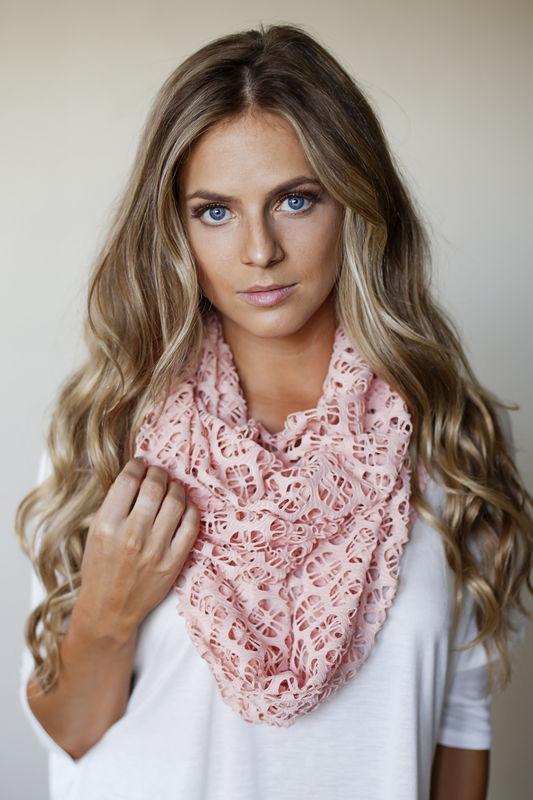 Cut out infinity scarf - peach, white, khaki - product images  of