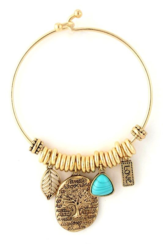 turquoise tree of life charm bracelet - product images  of