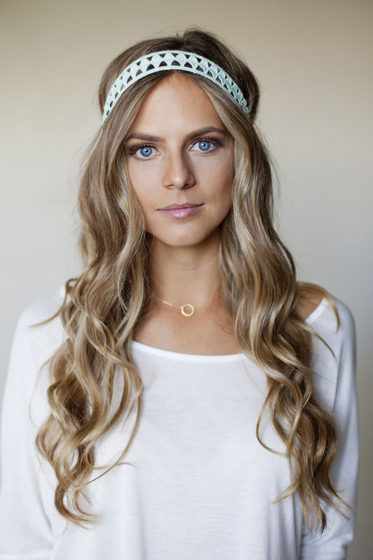 MINT GEOMETRIC CUT OUT HEADBAND - product images  of