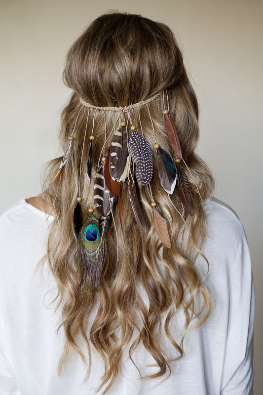 BOHO FESTIVAL FEATHER headband /hippie style / braided stretch band - product images  of