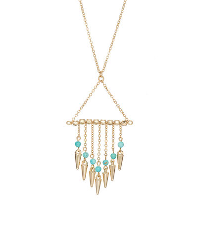 Spike,Tassel,necklace,spike, necklace, turquoise, boho, chain, body jewelry, accessories, jewelry