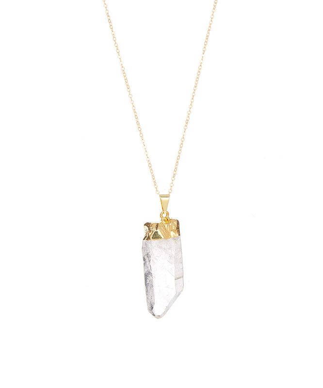 QUARTZ PENDANT Necklace, 24kt Gold Dipped Pendant, Gold Filled Necklace, Stone Pendant - product images  of