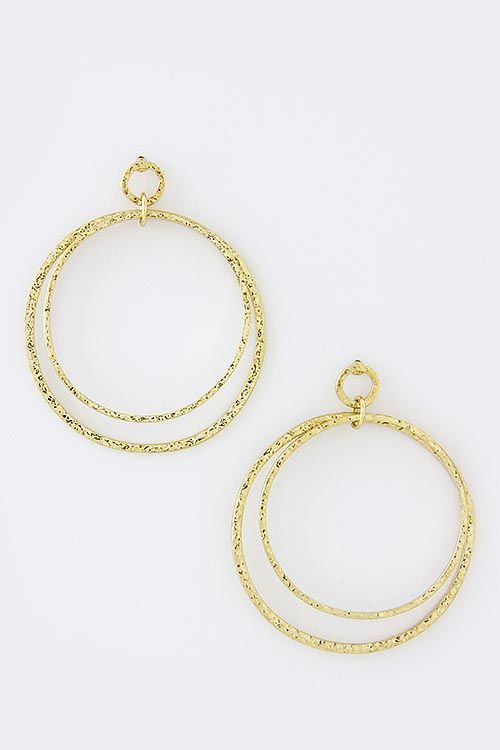 gold hammered circle earrings - product images
