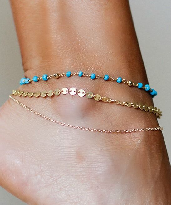 MADDIE ANKLET- triple chain turquoise anklet - product images  of