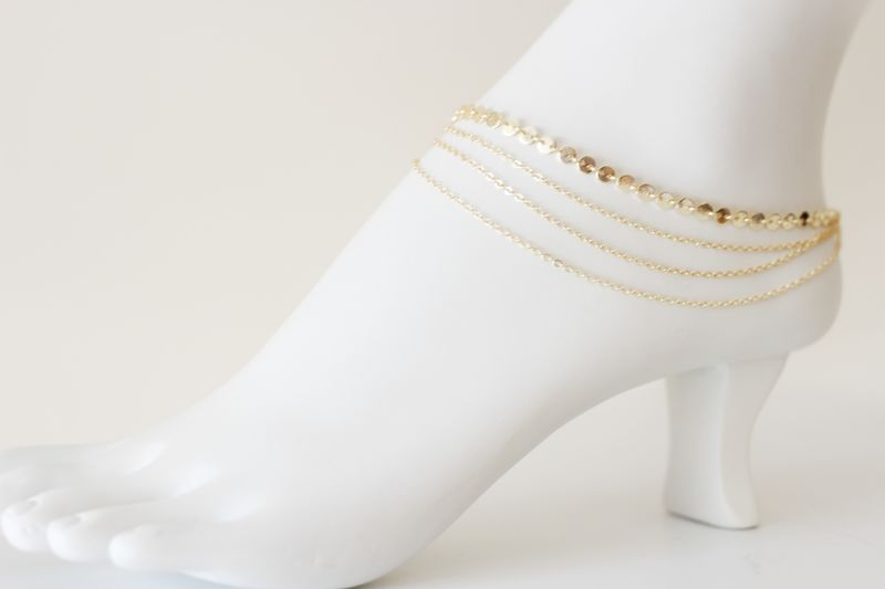 Ibiza gold draped anklet - product images  of