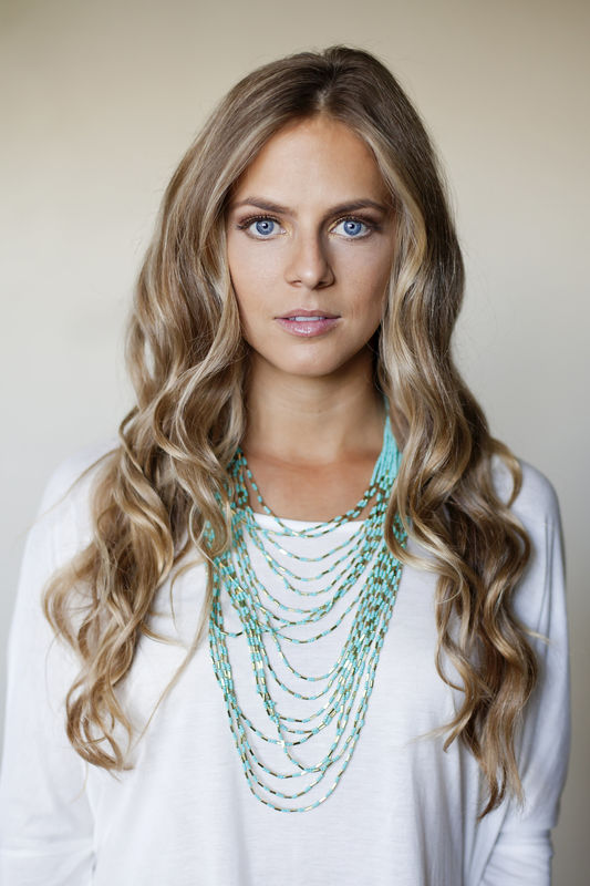 Turquoise bead multi strand necklace/ layer necklace - product images  of
