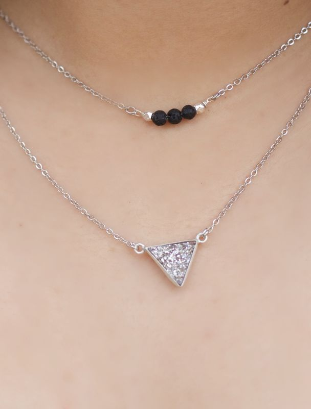LAVA rock jewelry - Essential oil diffuser necklace - layered lava and triangle druzy - product images  of