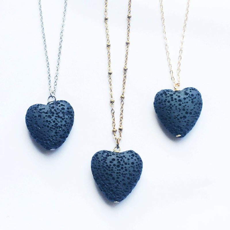 LAVA rock jewelry - Essential oil diffuser necklace - lava heart aromatherapy necklace - product images  of