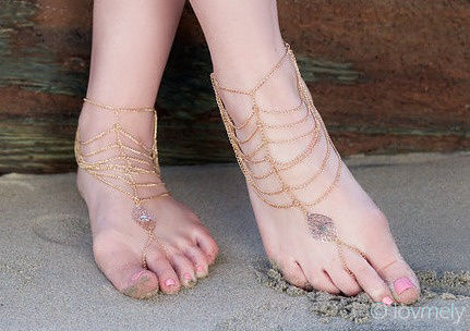 KATY ANKLET- gold chain barefoot sandal  - product images  of