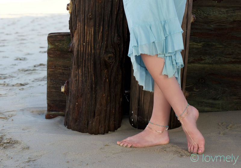 MADDIE ANKLET- triple chain turquoise barefoot sandal - product images  of