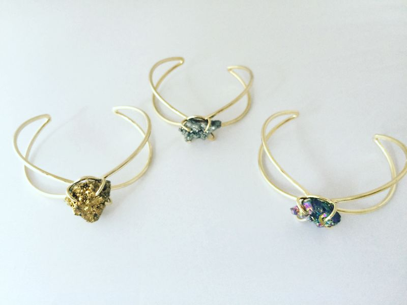 Drusy quartz cuffs/bracelet in blue, gold, silver - product images