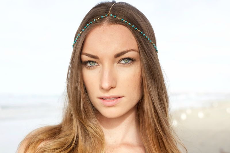 CHAIN HEADPIECE- turquoise and gold chain headchain - product images  of