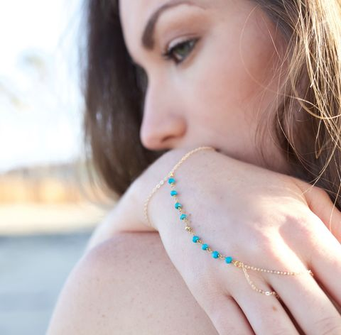 Turquoise,and,gold,pyrite,wire,wrapped,hand,chain,hand chain, handchain, hand piece, turquoise, jewelry, jewellery, boho, bohemian bride, beach, coachella, fashion, style, festival, california style