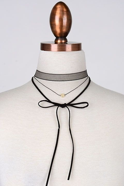 Mesh leather bow choker wrap - product images