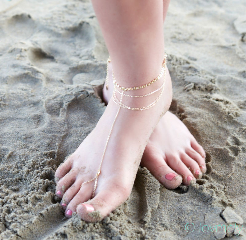 Chloe gold draped barefoot anklet  - product images