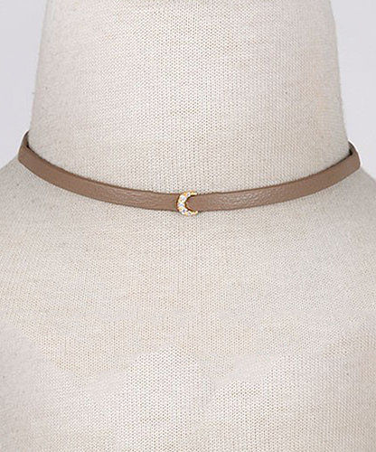 Moon leather choker- available in 2 colors - product images  of