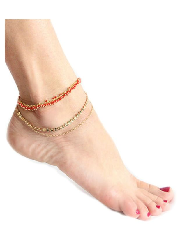 LOVMELY ANKLET- triple chain Turquoise, Coral, or white anklet 22k gold wire wrapped - product images