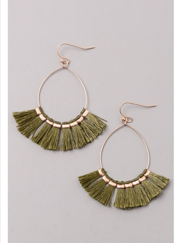 Tassel Fringe Teardrop earrings - product images  of