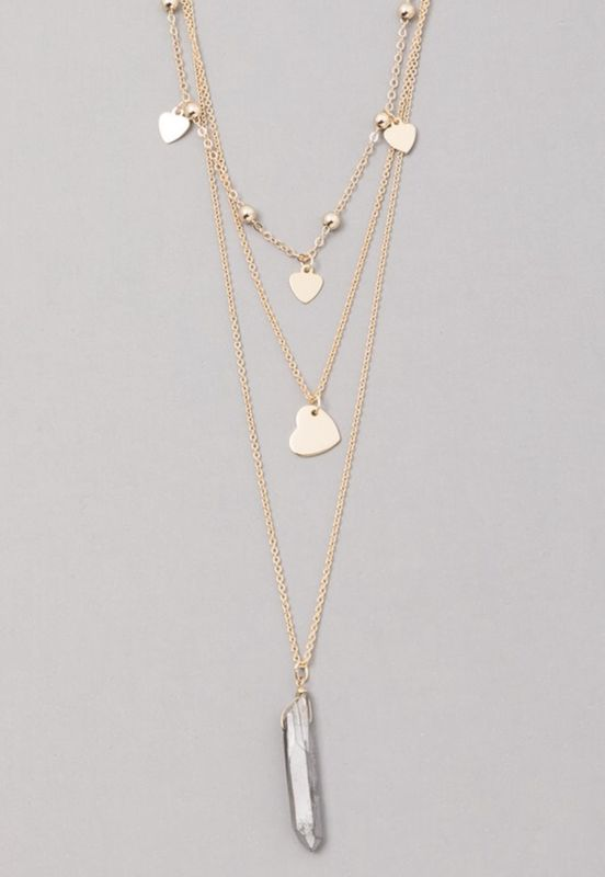Layered heart chain necklace with a  quartz pendant  - product images  of