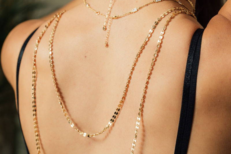 lovmely draped necklaces- set of 3 - gold or silver - product images  of