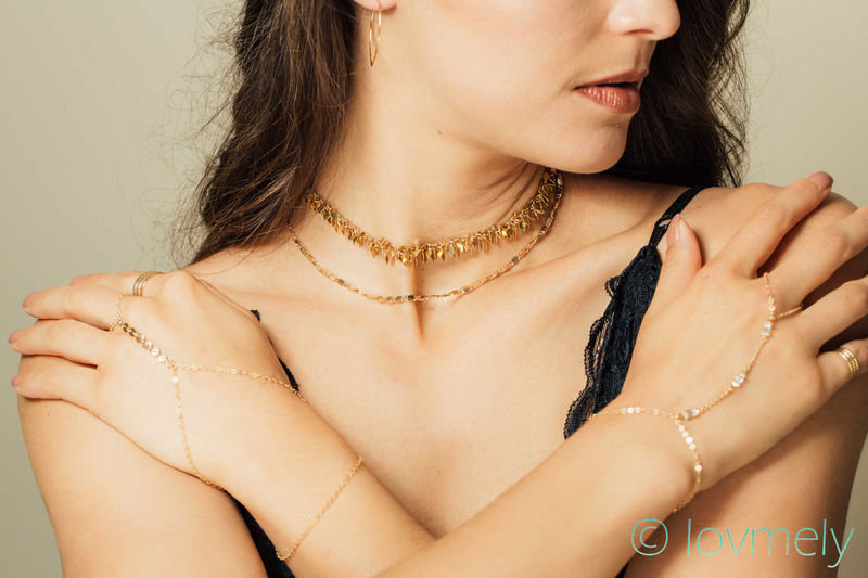 lovmely gold fringe double choker / necklace - product images  of