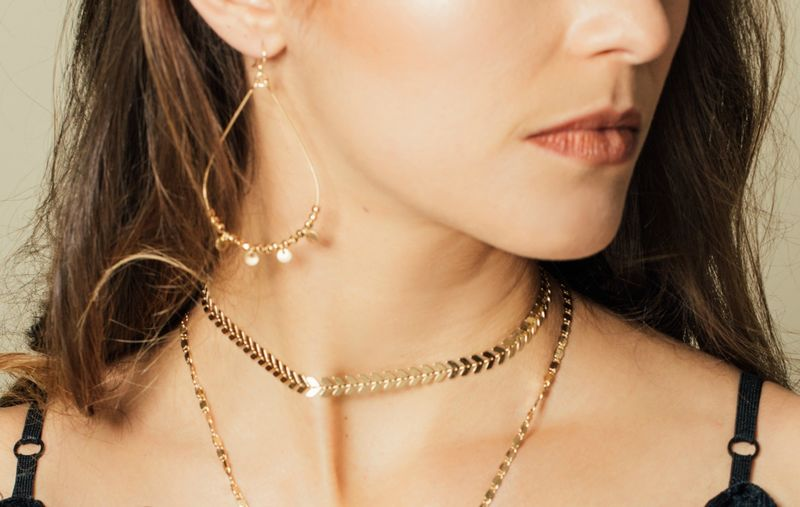 lovmely gold choker - gold or silver - product images  of