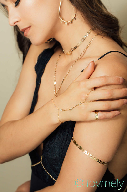 lovmely- gold arm band/ arm chain in gold or silver - product images  of