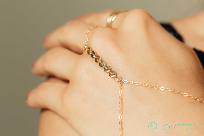 Lovmely gold disc hand chain - product images  of