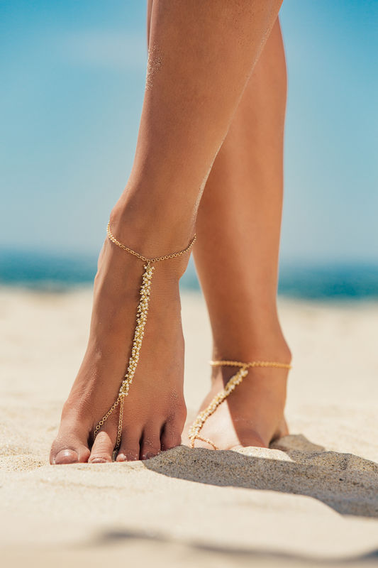 LOVMELY Barefoot sandal / anklet - Turquoise, Coral, or white anklet 22k gold wire wrapped - product images  of