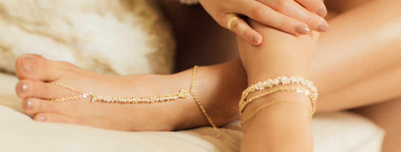 LOVMELY ANKLET- triple chain White, Coral, or turquoise  anklet 22k gold wire wrapped - product images  of