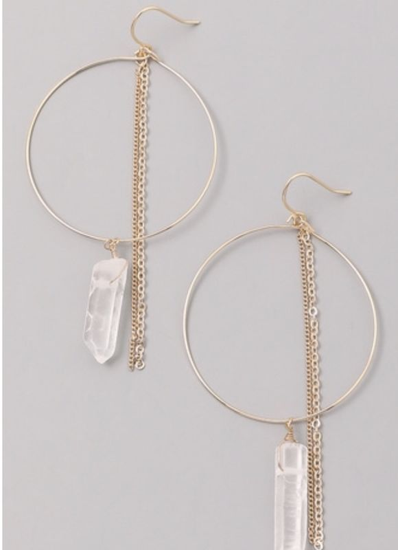 La Playa gold and crystal quartz chain earrings - product images  of
