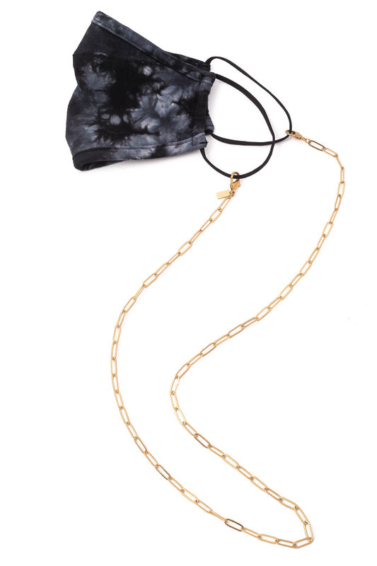 matte gold link face mask chain - product images  of