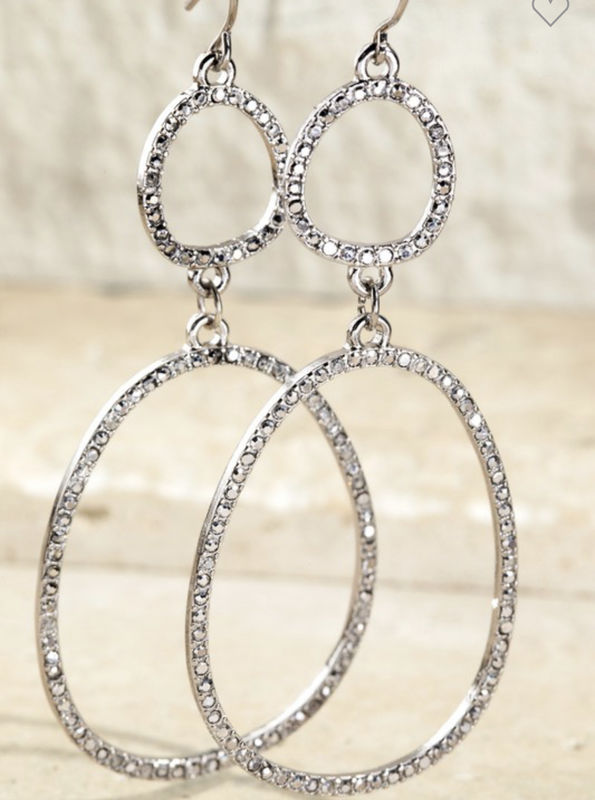 Pave double oval earrings - product images  of