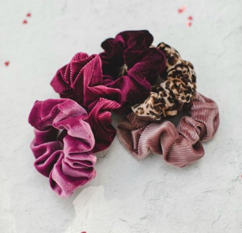 KARA,SCRUNCHIE,5,pack,set,scrunchie, VALENTINE'S DAY HAIR ACCESSORIES, HAIR ACCESSORIES, HAIR TIES, VELVET HAIR TIES