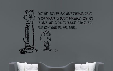 CALVIN,and,HOBBES,|,WE'RE,SO,BUSY,WATCHING,OUT,FOR,WHAT'S,JUST,AHEAD,OF,US,THAT,WE,DON'T,TAKE,TIME,TO,ENJOY,WHERE,ARE,CALVIN and HOBBES, CALVINandHOBBES, CALVIN & HOBBES, Bill Watterson, stickyedge, stickyedge.co.uk