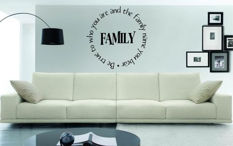 BE,TRUE,TO,WHO,YOU,ARE,AND,THE,FAMILY,NAME,BEAR,home, wall art, decor, family, vinyl, design, fun, love, stickyedge, stickyedge.co.uk, always, forever