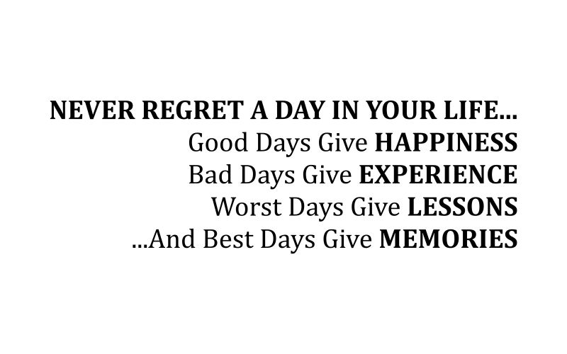 NEVER REGRET A DAY IN YOUR LIFE... GOOD DAYS GIVE HAPPINESS BAD DAYS GIVE EXPERIENCE WORST DAYS GIVE LESSONS ...AND BEST DAYS GIVE MEMORIES - product images  of