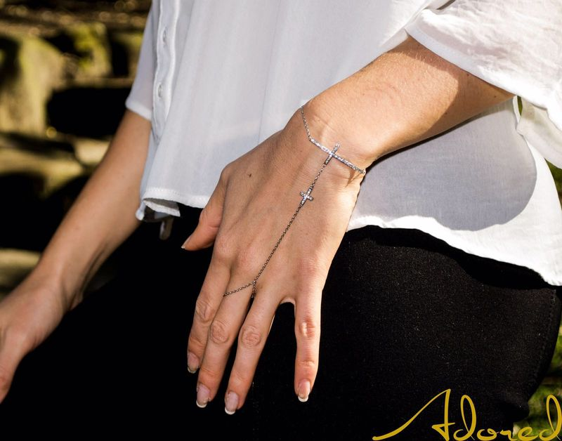 4given Cross Silver Hand Chain Bracelet - product images  of